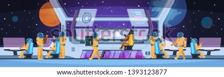 Spaceship futuristic interior. Spacecraft captain cabin with pioneer science team command and astronauts. Spaceman concept