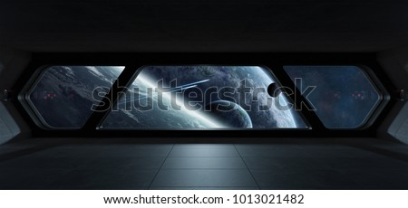 Spaceship futuristic interior with view on exoplanet 3D rendering elements of this image furnished by NASA