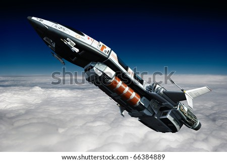 spaceship going above the clouds