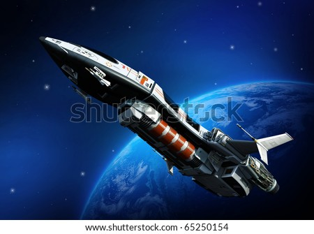 spaceship going up - stock photo