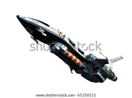 spaceship going up white background