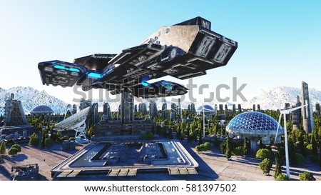 Stock Photo spaceship in a futuristic city, town. The concept of the future. Aerial view. 3d rendering.