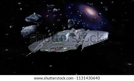 Spaceship in deep space, alien spacecraft in asteroid field flying through the universe, UFO, 3D rendering