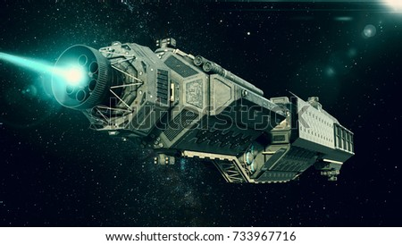 Spaceship in deep space, spacecraft flying through the universe with a bright star in distance, bottom rear view, 3D illustration
