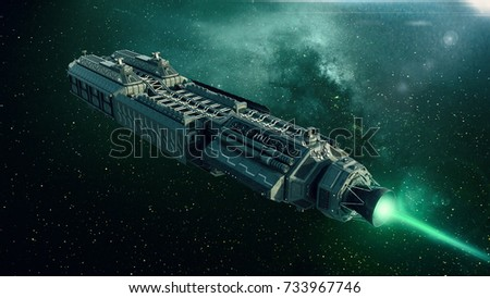Spaceship in deep space, spacecraft flying through the universe with a bright star in distance, top rear view, 3D illustration  Foto stock ©