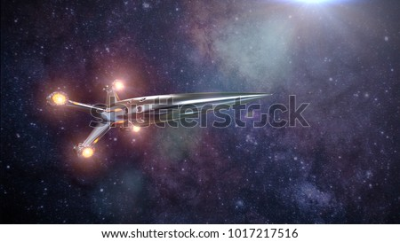 spaceship in front of the stars of the Milky Way galaxy, rocket in deep space (3d science fiction render, elements of this image are furnished by NASA)