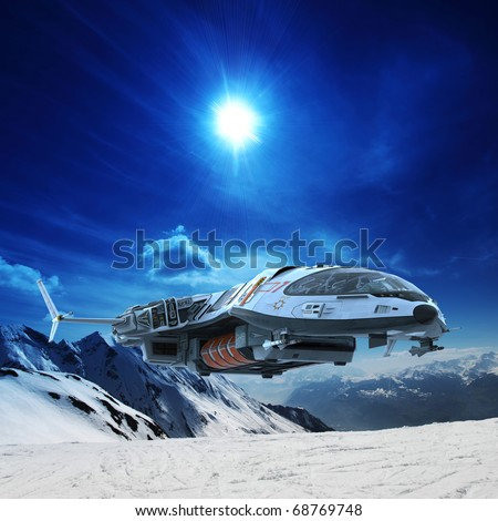 spaceship in snow planet