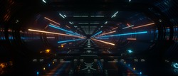 Spaceship interior bridge corridor with vivid transition lightning, 3d Rendering