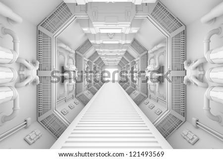 Spaceship interior center view with bright white texture