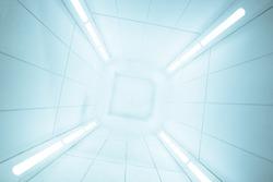 Spaceship interior center view with bright white texture, futuristic interior corridor, space ship, Futuristic architecture.