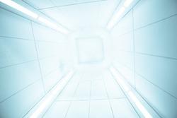 Spaceship interior center view with bright white texture, futuristic interior corridor, space ship, Futuristic architecture