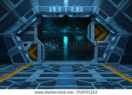 Spaceship Interior. Inside of space station with open doors. 3D illustration.