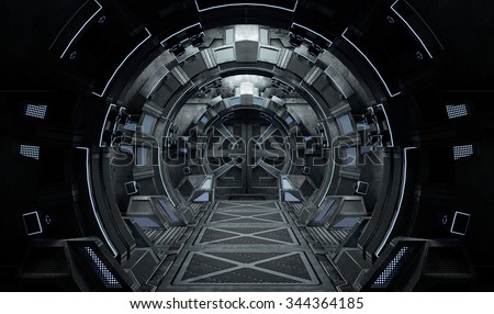 Spaceship Interior Round. 3D illustration.