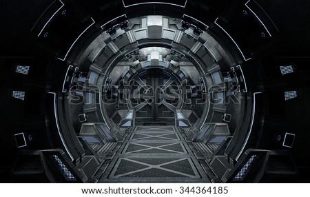 Spaceship Interior Round. 3D illustration.