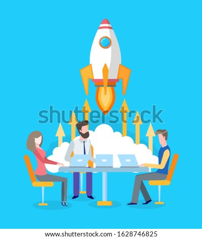Spaceship or rocket start, team developing startup raster. Brainstorming and project development, workers or developers at laptops, teamwork and spacecraft