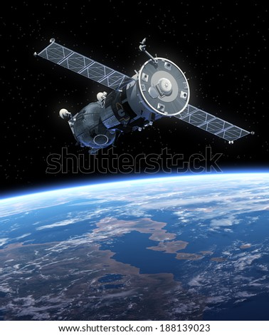 Spaceship Orbiting Earth. 3D Scene. Elements of this image furnished by NASA.