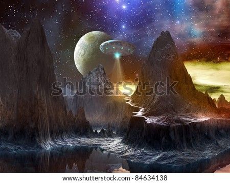 Spaceship over Mountain Path on Distant World