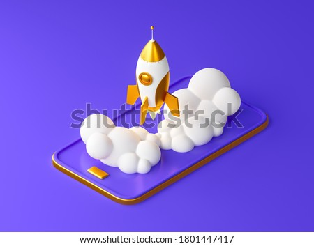Spaceship startup rocket from the mobile phone on the purple background. Successful launch gold concept of business. 3d render illustration.