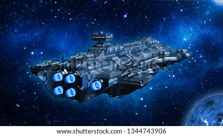 Spaceship traveling in deep space, alien UFO spacecraft flying in the Universe with planet and stars, rear view, 3D rendering