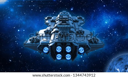 Spaceship traveling in deep space, alien UFO spacecraft flying in the Universe with planet and stars, back view, 3D rendering
