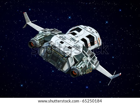 spaceship turning around on the stars - stock photo