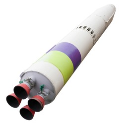 Spaceship with four nozzles isolated on a white background. old rocket to fly into space.