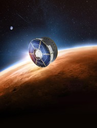 Spaceship with rover on orbit of Earth planet. Expedition to Mars. Mission Perseverance 2020. Space station. Elements of this image furnished by NASA