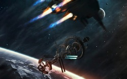 Spaceships on the way to deep space. Sci-fi futuristic art . Image elements furnished by NASA