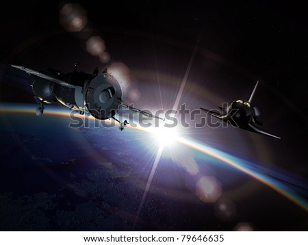 Spaceships Soyuz and Space shuttle on the orbit