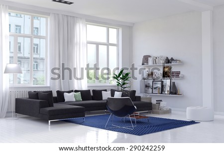Spacious bright living room interior with a comfortable lounge suite and armchair on a blue rug in a corner below large windows with long white drapes, wall unit with personal mementos. 3d Rendering.