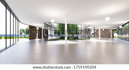 Spacious bright spatial rooms with lots of greenery behind the glass. Public premises for office, gallery, exhibition. 3D rendering. Stock fotó ©