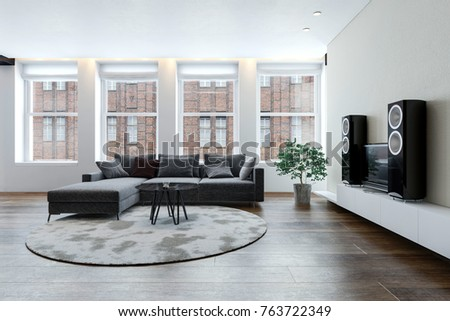 Spacious clean bright 3d  living room with sofa and hi-fi stereo system