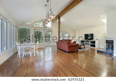 Spacious family room with ceiling wood beam