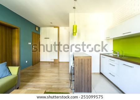Spacious, green hotel room with modern kitchenette