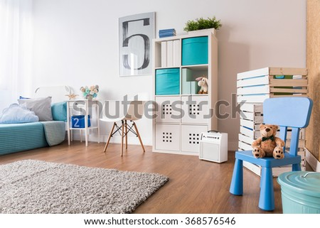 Spacious interior for child with flooring, carpet and new furniture