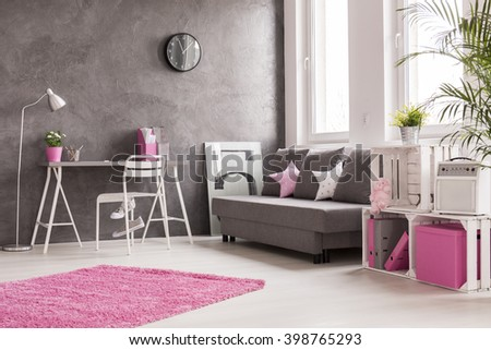 spacious interior in grey  pink ...