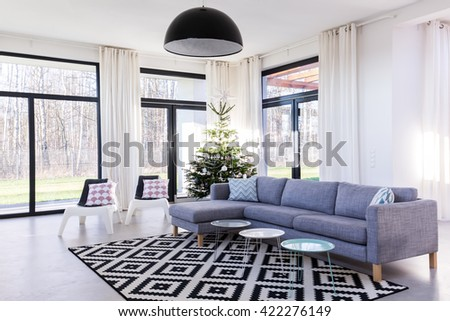 Spacious living room with large sofa and window wall system.