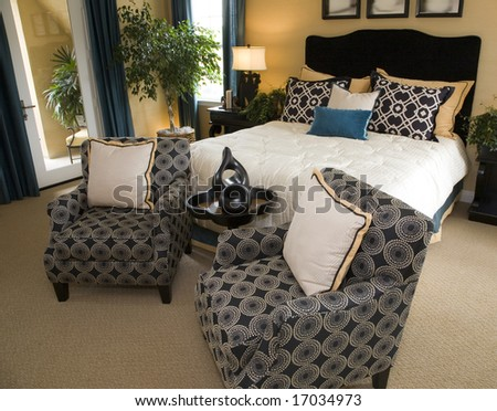 Spacious luxury home bedroom.