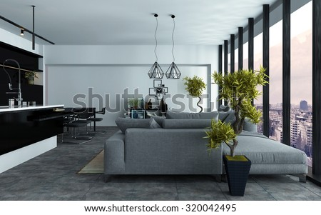Spacious Modern Open Plan Living Room With A Built In