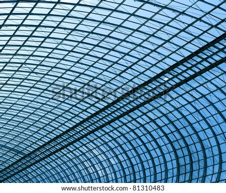 spacious new ceiling inside light metro station