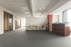 Spacious room in an office building, modern interior