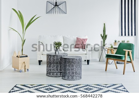 Spacious room with designed with scandinavian style #568442278