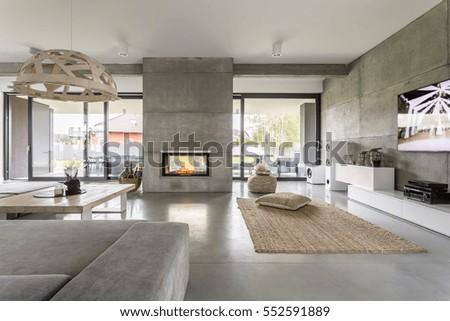 spacious villa interior with...