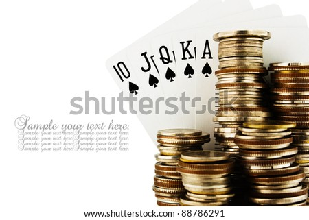 Spade Royal Flush With Stack Of Coin Isolated On White Background.