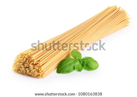 Spaghetti and basil isolated on white background. With clipping path.
