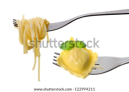 spaghetti and ravioli pasta on forks isolated on white