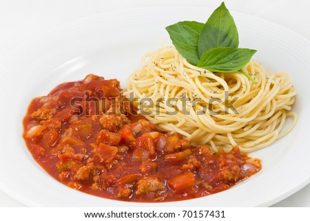 Spaghetti and sauce in plate ready to serve