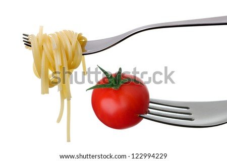 spaghetti and tomato on forks against a white background