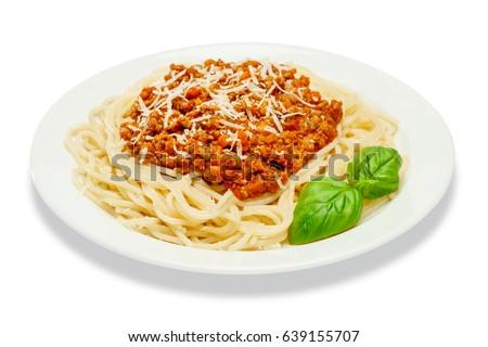 Spaghetti bolognese on a white plate