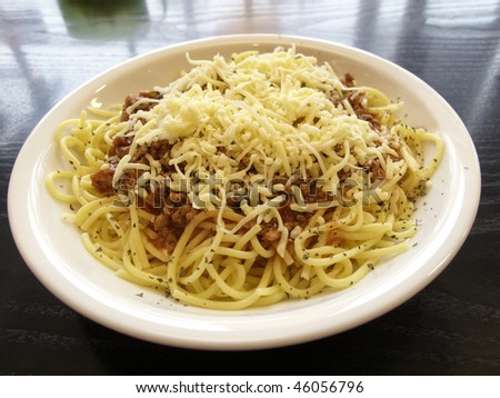 Spaghetti Bolognese on the plate